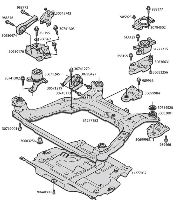 skandix installation picture volvo s80 2007 engine mounting rh skandix de 1993 Saab 900 Engine Diagram Saab 9 3 Parts Diagram