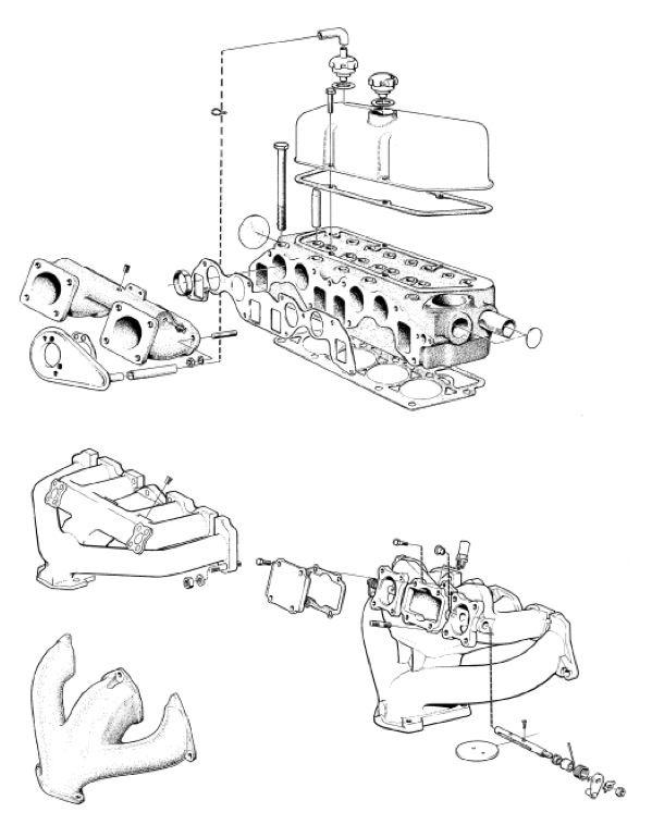 Volvo P1800: Zylinderkopf, Ansaug-/Abgaskrümmer, Ventildeckel