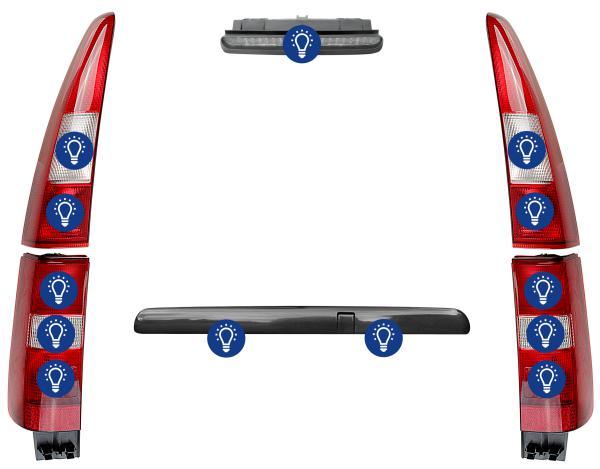 Volvo V70 (-2000): Übersicht Leuchtmittel hinten