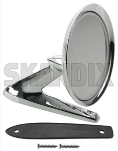 Outside mirror fits left and right 276610 (1019364) - Volvo 120 130 220, 140, 164, P1800, P1800ES, PV - 1800e outside mirror fits left and right p1800e Own-label 108 108mm and fits left mm right round