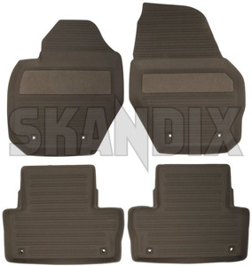 Floor accessory mats Rubber brown 39822900 (1039921) - Volvo XC60 (-2017) - floor accessory mats rubber brown Genuine 4 bowl brown drive for hand left lefthand left hand lefthanddrive lhd mat rubber vehicles