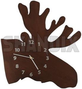 Wanduhr Elchkopf  (1059780) - universal  - chronometer uhr uhrzeit wanduhr elchkopf zeitmesser skandix 45 45cm 52 52cm braun brauner cm elchkopf