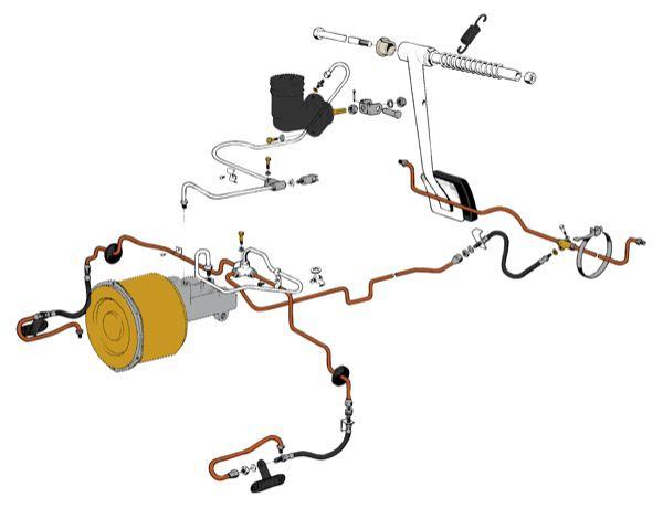 Volvo P1800: Bremsleitungen (1-Kreis) mit Bremskraftverstärker