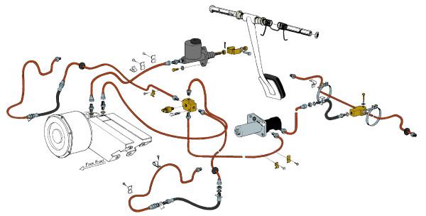 Volvo P1800: Brake lines (single circuit)