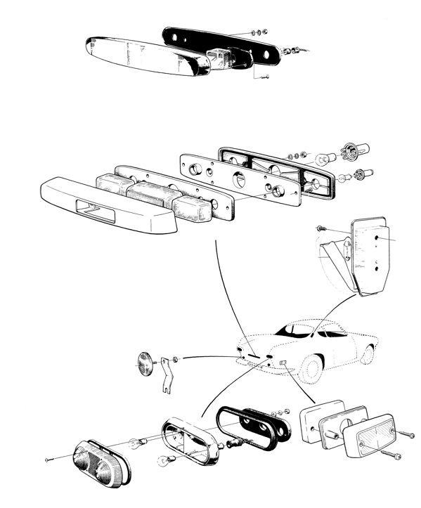 Volvo P1800: Brems- und Rückleuchten, Innenraum- und Nummernschildbeleuchtung