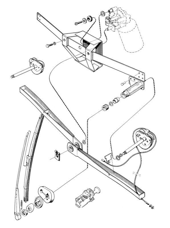 Volvo P1800: Wiper motor, wiper arm, wiper blade