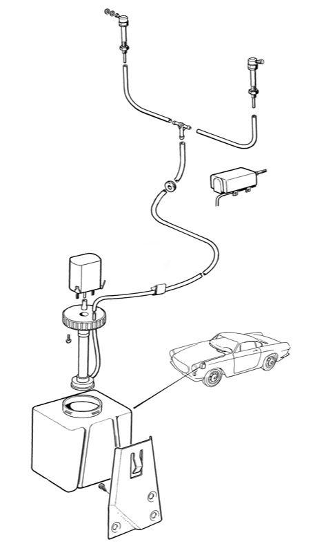 Volvo P1800, P1800ES: Window cleaning, nozzle, water tank angular
