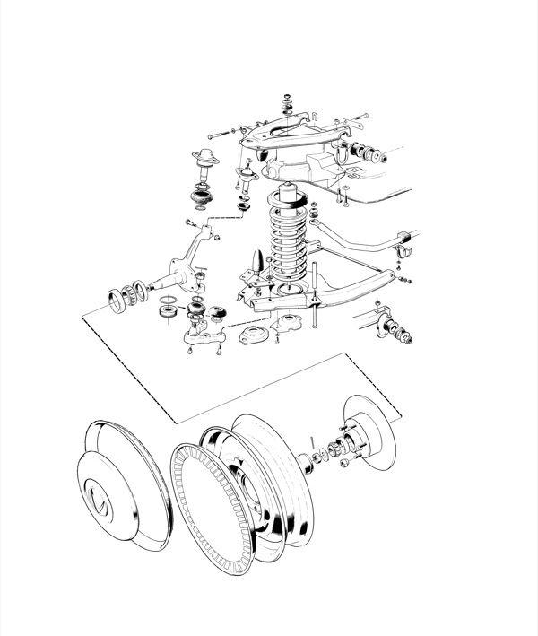 Volvo P1800: Vorderradaufhängung und Räder