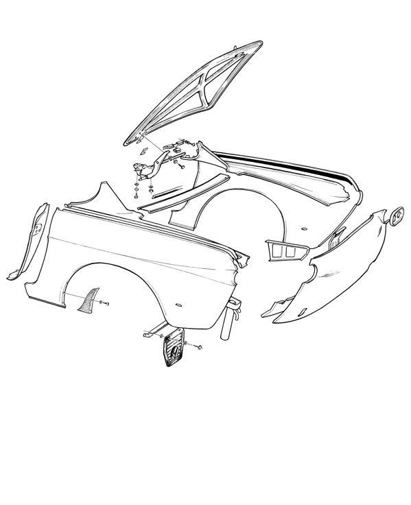 Volvo P1800: Karosserie Heck, Kofferraum, Seitenwand
