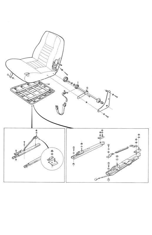 Volvo P1800: Front seat frame, seat rails