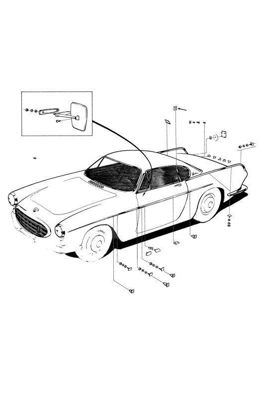 Volvo P1800: Außenspiegel, Embleme, Zierleisten