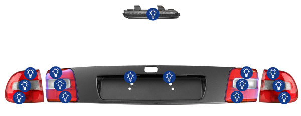 Volvo V40 (-2004): Overview rear lamps