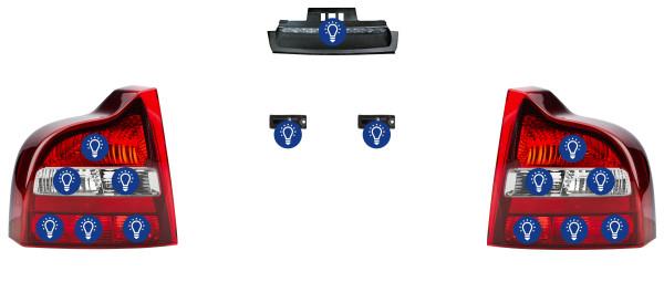 Volvo S80 (-2006): Übersicht Leuchtmittel hinten