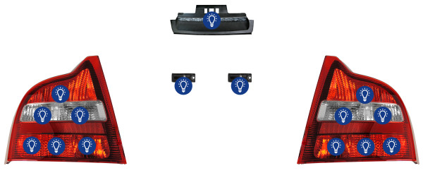 Volvo S80 (-2006): Overview rear lamps