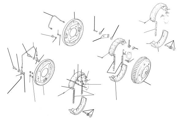 Saab 95, 96, 93: Brake front (drum brakes)