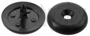 Seat belt stop 16 mm  (1015596) - Volvo 850, 900, C30, C70 (2006-), C70 (-2005), S40 V40 (-2004), S40 V50 (2004-), S60 (-2009), S70 V70 (-2000), S80 (2007-), S80 (-2006), S90 V90 (-1998), V70 P26, V70 XC (-2000), XC70 (2001-2007), XC90 (-2014) - clip safety belt clip  safety belt seat belt stop 16mm Own-label 16 16mm black mm