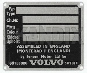 Typenschild  (1022884) - Volvo P1800 - 1800 1800s chassisnummernschild coupe fahrgestellnummernschild fahrzeugidentifizierungsnummer fahrzeugidentifizierungsnummer fahrzeug identifizierungsnummer fgst fgst fin schild identifizierungsnummer identnummer jensen p1800s sportcoupe typenschild typschild vin schild Hausmarke