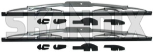 Wiper blade for Windscreen silver Kit for both sides  (1027390) - Volvo 140, 164, 200 - wiper blade for windscreen silver kit for both sides wipers Own-label 262c addon add on bertone both cleaning drivers except for kit left material model passengers right side sides silver window windscreen with