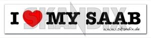 Aufkleber I love my Saab weiß  (1034650) - Saab universal - aufkleber i love my saab weiss autoaufkleber funaufkleber fun aufkleber kleber sticker Hausmarke 167 167mm 35 35mm i love mm my rechteckig rechteckiger saab weiss weisser