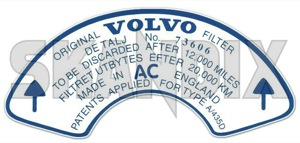 Label Air filter exchange  (1043641) - Volvo 120 130 220, 140, P1800, PV P210 - 1800e decal label air filter exchange p1800e sticker Own-label air exchange filter interval