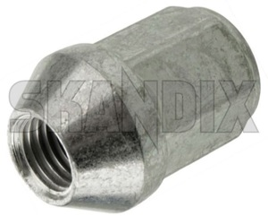 Wheel nut silver Zinc-coated Cap nut with fixed conical collar  (1049551) - Volvo 700, 900, S90 V90 (-1998) - wheel nut silver zinc coated cap nut with fixed conical collar wheel nut silver zinccoated cap nut with fixed conical collar Own-label 19 alloy attached cap collar cone conical fixed for light nut rims silver steel with zinccoated zinc coated