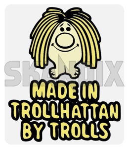 Aufkleber Made in Trollhättan by trolls transparent  (1054885) - Saab universal - aufkleber made in trollhaettan by trolls transparent autoaufkleber funaufkleber fun aufkleber kleber sticker Hausmarke 100 100mm 70 70mm by durchsichtiger in innen innerer klar made mm transparent transparenter trollhaettan trolls