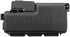 Cover, Fuse box Engine compartment 30728133 (1064640) - Volvo S60 (-2009), S80 (-2006), V70 P26, XC70 (2001-2007), XC90 (-2014) - cap car fuses cover fuse box engine compartment fuse boxes covering lid Genuine accumulator acumulator battery compartment cover cover  engine plus pole positive protection starter terminal with