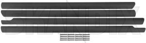 Cover, Top edge door panel black Repair kit  (1075694) - Volvo 900, S90 V90 (-1998) - channel strip inside cover top edge door panel black repair kit cover up cushions doortop molding moulding plastic covering scrapper inner skandix black kit repair repairkit repairset set
