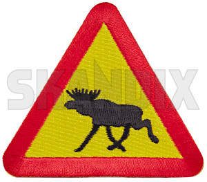 Patch Elk Warning Triangular  (1080963) - universal  - badge character coat of arms iron on ironon patch iron on patch patch elk warning triangular Own-label 69 69mm 72 72mm elk elksign iron mm moosesign on sign to trafficsign triangular warning warningsign
