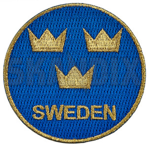 Patch Sweden / Sverige round  (1080964) - universal  - badge character coat of arms iron on ironon patch iron on patch patch sweden  sverige round patch sweden sverige round Own-label /    60 60mm blue english gold iron mm on round sverige sweden to